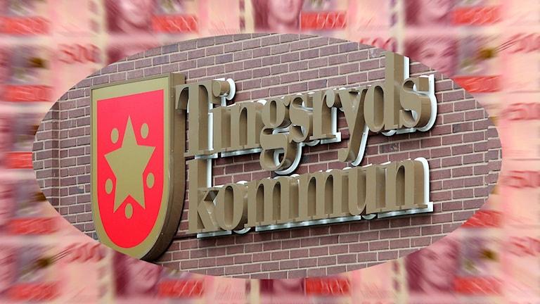En bild på Tingsryds kommuns logga med pengar i bakgrunden