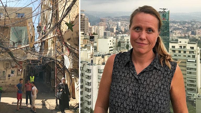 Anna Carlsson, ett kvarter  i Libanon där det är många kablar huller om buller.