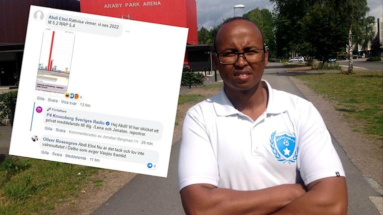 En bild på Abdi Elmi med armarna kors och en bild på Facebook