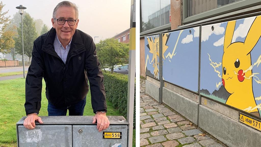 Konst ska sättas på elskåp i Ljungby. I bilden t.h. konst som sitter på elskåpen i Växjö.