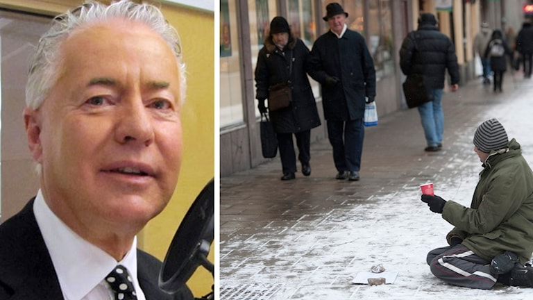 Till vänster Bo Frank, moderat politiker med vitt hår, övre medelåldern. Till höger, en man med mössa som sitter utomhus bland snö och tigger.