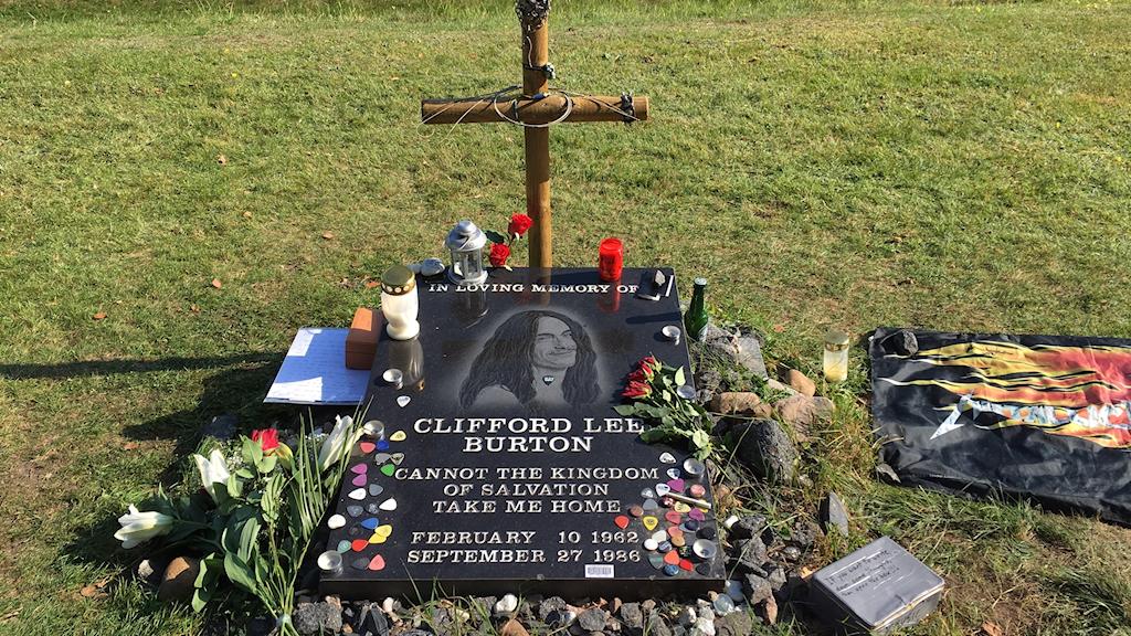 Cliff Burtons minnessten i Dörarp utanför Ljungby.