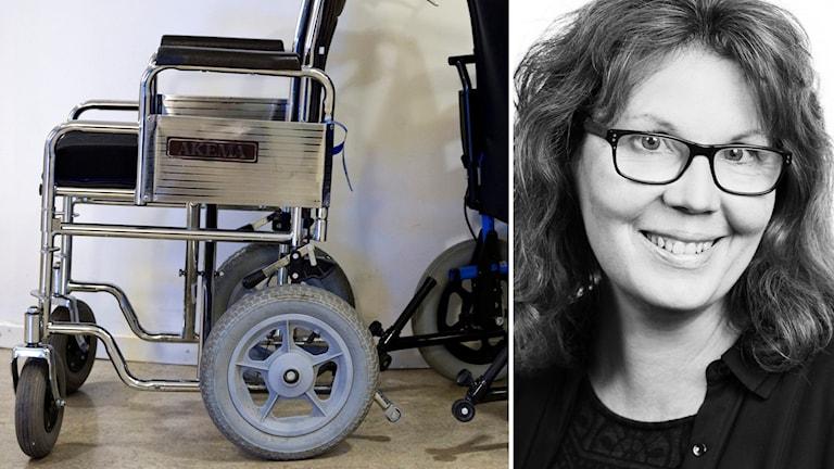 Till vänster två rullstolar, till höger reporter Karin Ernstsson