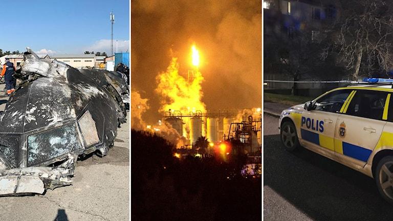 Ett kraschat flygplan, en stor explosion och en polisbil på utryckning i ett bildkollage.