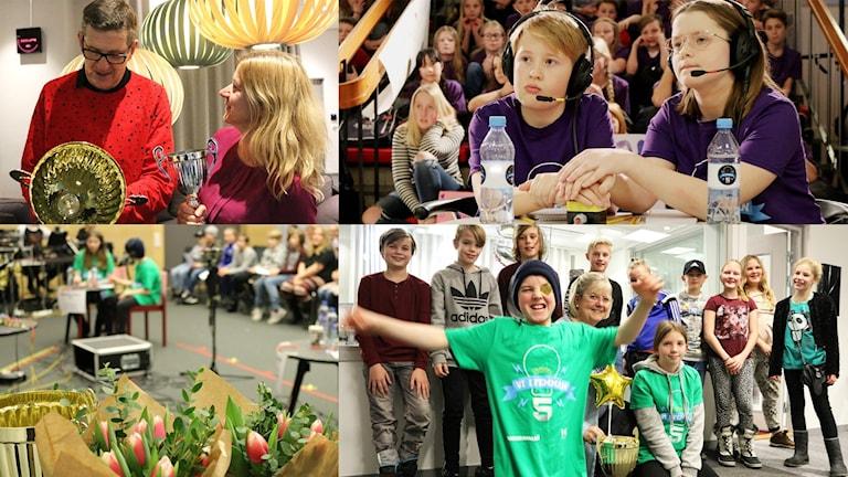 Bilder på tävlingsledare och barn från förra upplagan av Vi i femman.