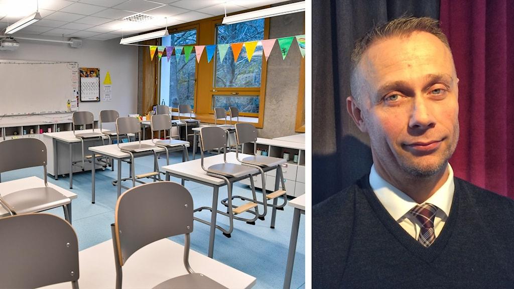 Ett tomt klassrum och Anders Bergström, skolchef i Skellefteå.