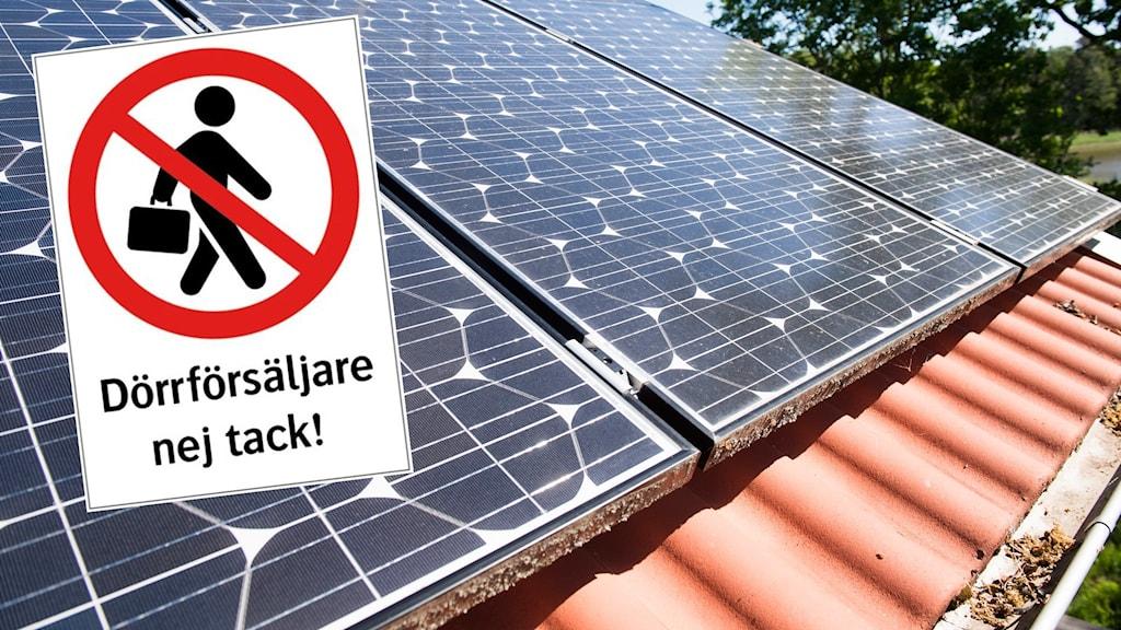 Solceller på tegeltak och en infylld skylt: Dörrförsäljare nej tack!