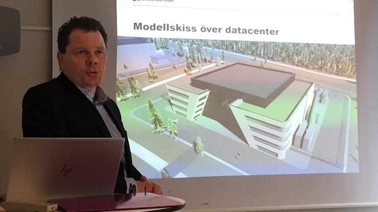 Skellefteå Kraft visar modellskiss över datacentret.