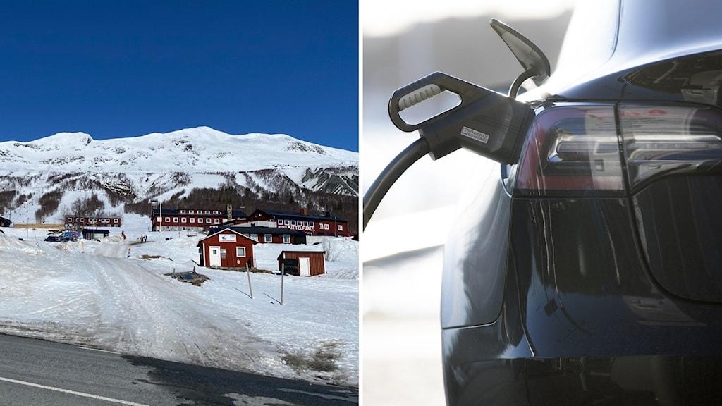 Elbilstår som står på laddning och vy över skidanläggningen i Kittelfjäll.