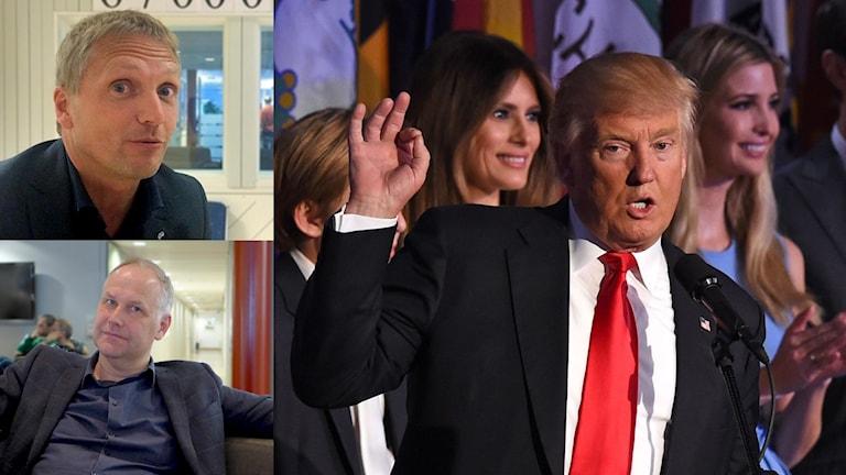 Två politiker inklippta med Donald Trump
