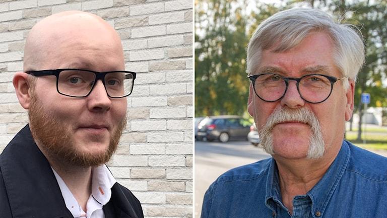 Ett kollage med en profilbild på Petter Nilsson och Levi Bergström