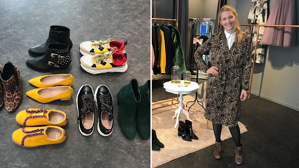 Pia Johansson visar upp höstens skor