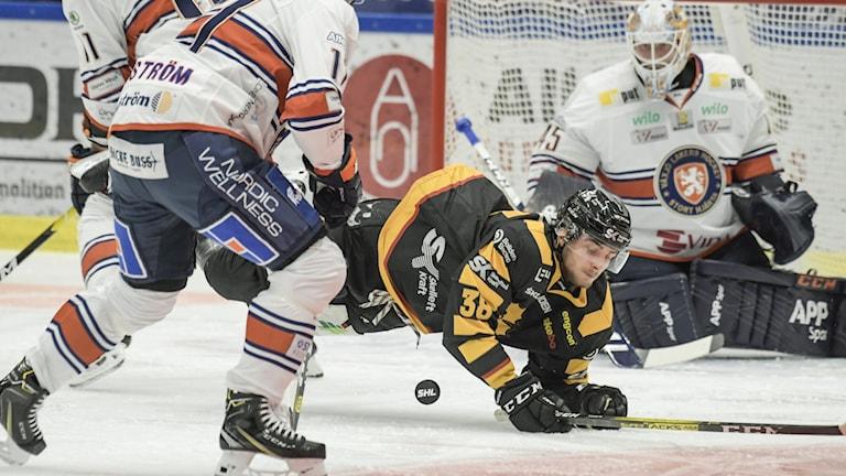 Skellefteå AIKs Jacob Olofsson, ramlar framför målet  under torsdagens ishockeymatch i SHL mellan Skellefteå AIK och Växjö Lakers i Skellefteå Kraft Arena.