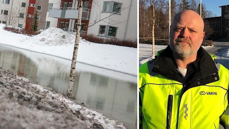 Walter Jonasson, underhållschef på Vakin och översvämning i Umeå. Foto: Helena Andersson/Sveriges Radio och Gerhard Stenlund/Sveriges Radio