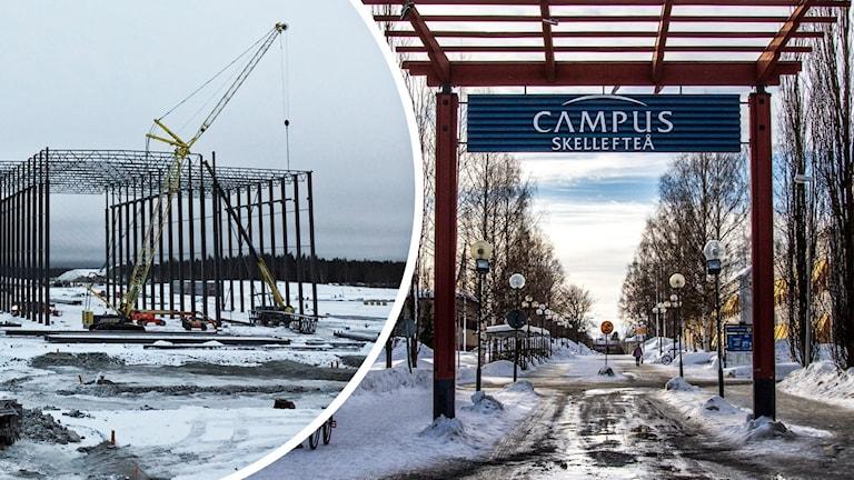 Skellefteå campus och batterifabriksbygget. Foto: Hjalmar Åman/Sveriges Radio och Markus Åkebo/Sveriges Radio