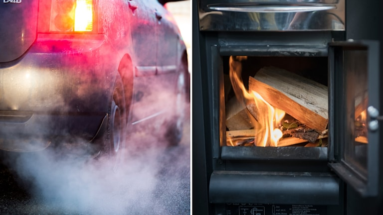 Avgaser från bil och vedeldning