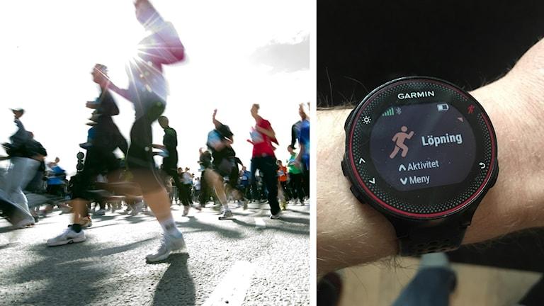 Löpare och en träningsklocka. Foto: Bertil Ericson/TT och Kalle Vannmoun/Sveriges Radio