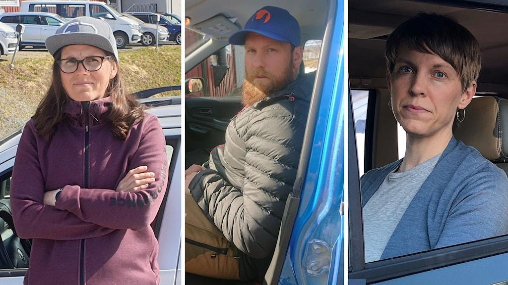 Tre porträtt på personer i och utanför sina bilar.