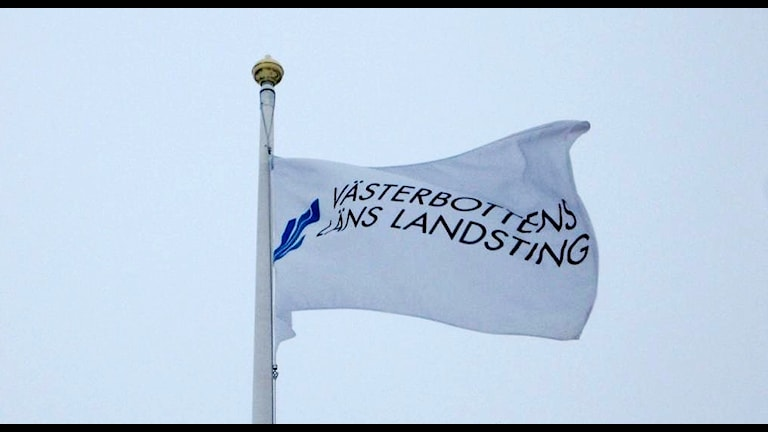 Landstingets flagga i Västerbottens län. Foto Peter Öberg/SR Västerbotten.