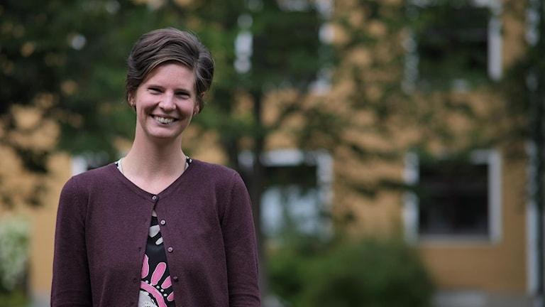 Jägmästaren Amanda Löfdahl föreläser om skogsarbetarkockan och hennes liv i kojan med upp emot 20 skogsarbetare.