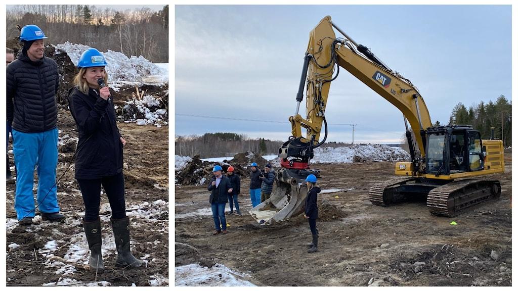 Kollage med två bilder, till vänster Maria Bergsten och till höger grävmaskinen med Hans Lindberg framför.