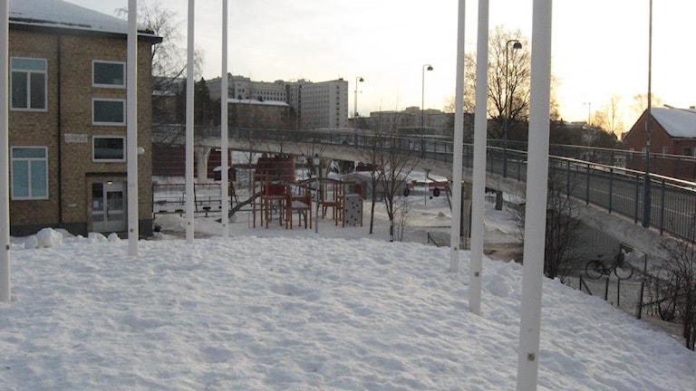 Cykelbron Svingen vid Östermalmsskolan i Umeå.
