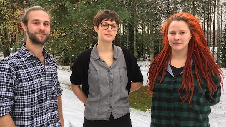 Studenterna Elias Andersson, Ida Nordung och Olivia Brynolfsson