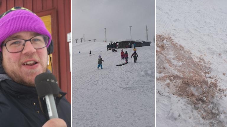Reporter Jon Eriksson, barn i Bräntbergsbacken och utspilld chokladmjölk i ett kollage