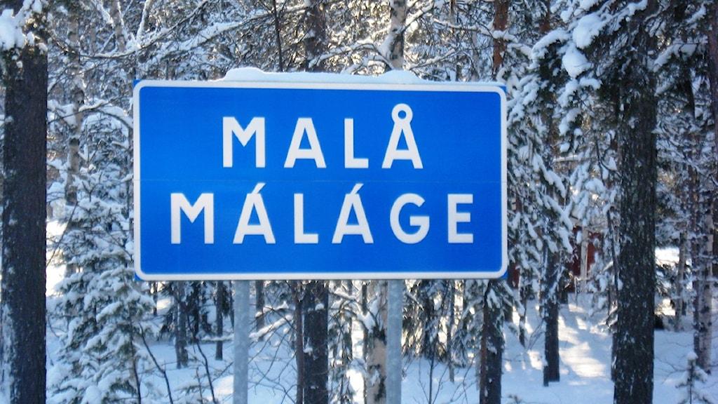 Malå ortsskylt, Foto: Magnus Bergner/SR.