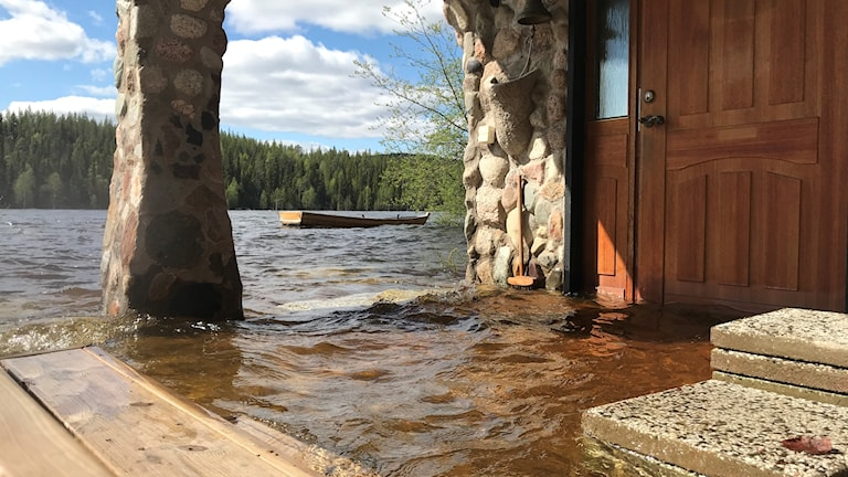 Översvämning vid Laxgård nedanför Vormforsen i Vindelälven