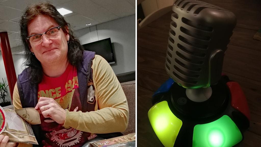 Jonas Rosenqvist och en infälld bild på en mikrofon till spelet Name it