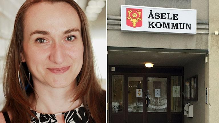 Sylvia Schöne, kursföreståndare på Folkhögskolan i Åsele och ingången till Åsele kommunhus
