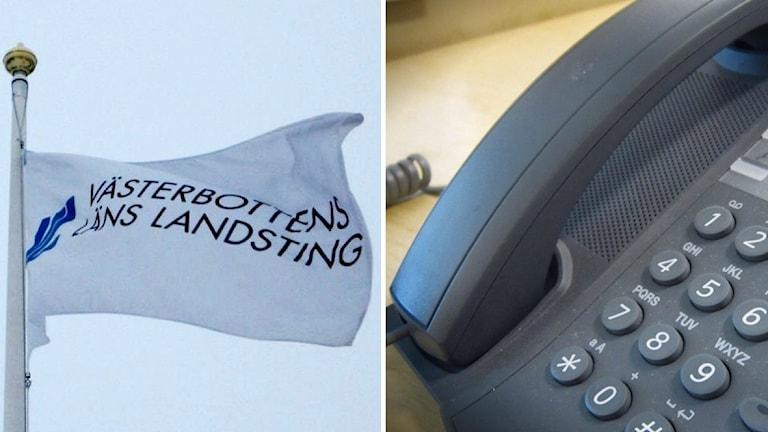 En flagga med texten Västerbottens läns landsting. Till höger om det en bild på en telefon.