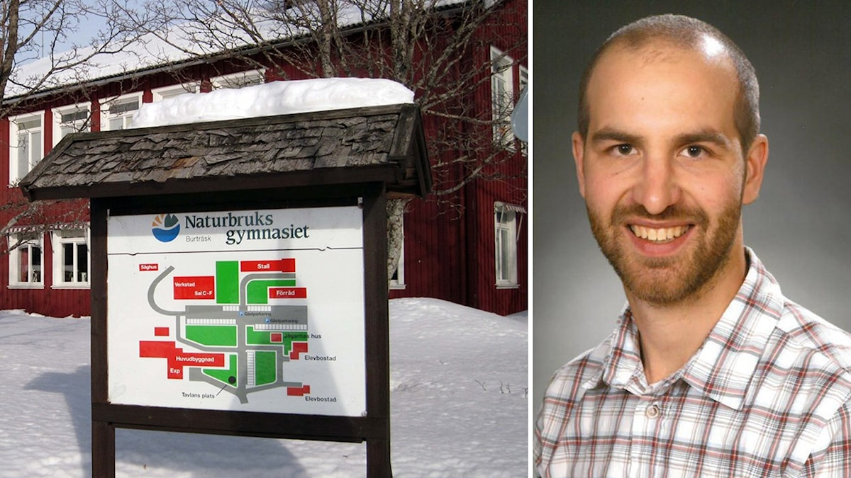 Naturbruksgymnasiet i Burträsk och en porträttbild på Jimmy Persson foto Åza Meijer och Skellefteå kommun