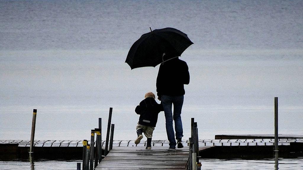 Förälder och barn på brygga med paraply i regnvädret. Foto: Johan Nilsson/Scanpix