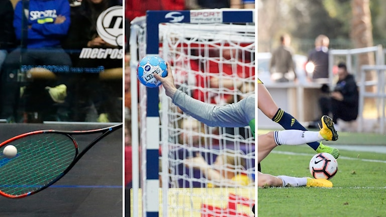 Tre bilder: Ett squashracket slår till en squashboll, en blå handboll kastas iväg från målstolpen, fötter från två personer i närkamp om fotboll.