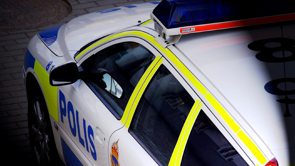Arkivbild. Polisbil i strålkastarljus. Foto: Hasse Holmberg/Scanpix.