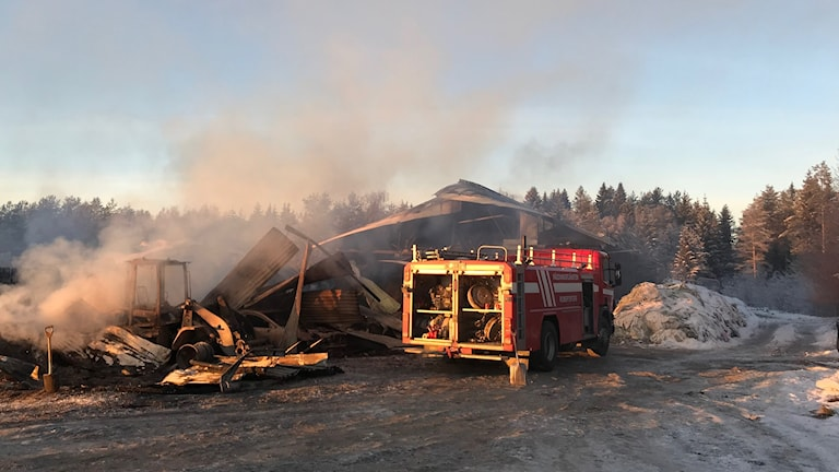 brand i ladugård i Kvarnfors 30 kossor dog