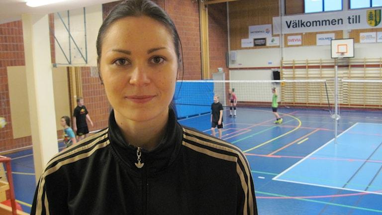 Petra Andersson är lagkapten i Norsjö Volleyboll. Foto: Magnus Bergner/SR.
