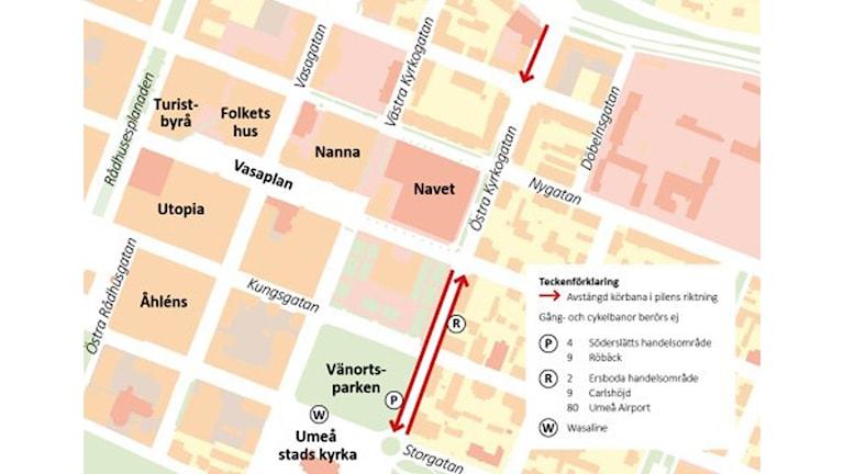 Karta över den del av Östra kyrkogatan som stängs av.