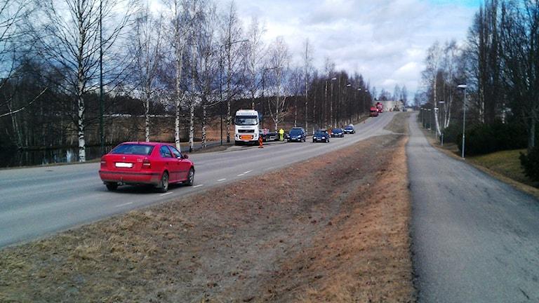 Vägarbete på Bofinksvägen, Mariehem i Umeå. Foto: Peter Öberg, SR.