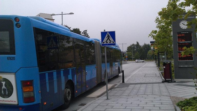 Lokalbuss i Umeå vid Universitetssjukhuset (NUS). Foto: Åsa Sundman/SR