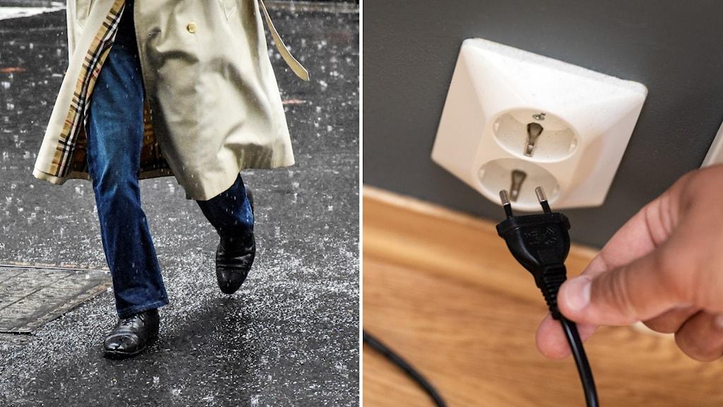 En man som springer på en gata i regnet och ett vägguttag