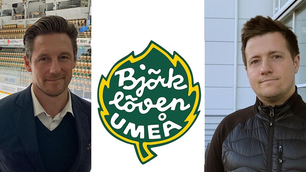 Anders Blomberg, VD för Björklöven, Björklövens logga och Marcus Isacson, sportchef på Västerbottens-Kuriren