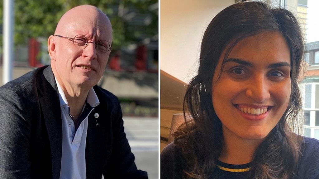 Collage: Till vänster prorektor Pär Weihed/LTU, till höger doktoranden Fatemeh Hajeforosh