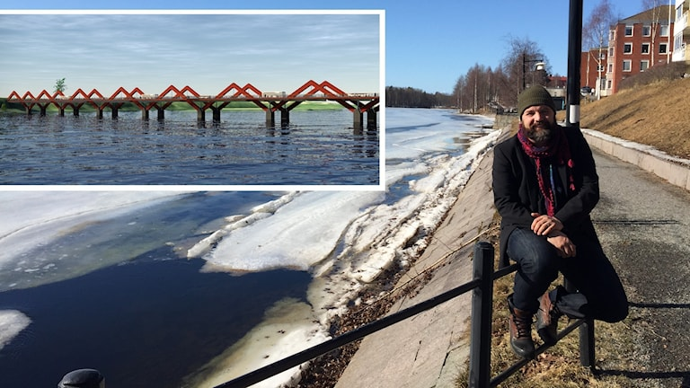 Enar Nordvik sitter i solskenet vid Skellefteälven där isen håller på att börja tina. Bakom honom planeras sedan 50 år en ny bro.
