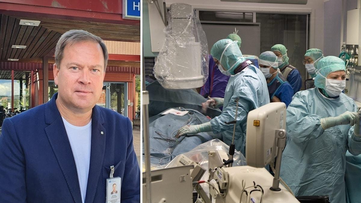Magnus Hedström, områdeschef länssjukvård, operationssal där vårdpersonal utför en operation i gröna skyddskläder