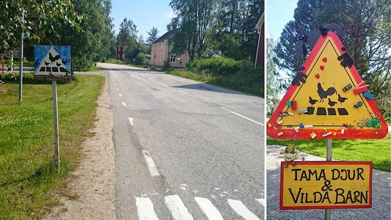 Ett kollage på olika skyltar som satts upp längs vägen för att få folk att köra försiktigare