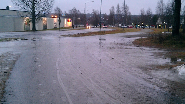 Halt på isbelagd cykelbana på Mariedal i Umeå. Foto: Peter Öberg, Sveriges Radio.