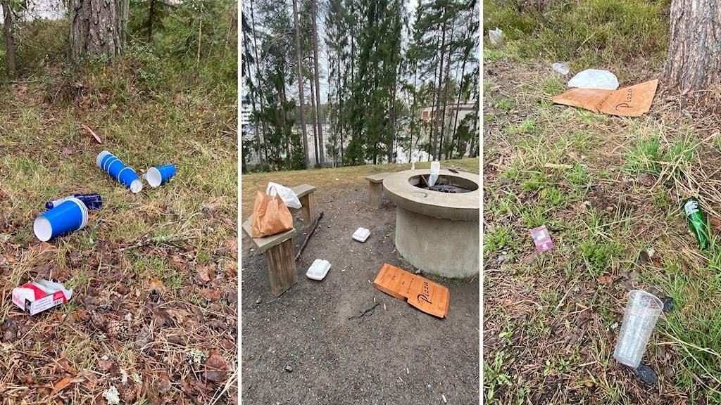 Skräp liggandes på marken vid Tvistevägen i Umeå.